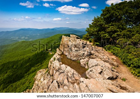 Summer view of the Blue Ridge Mountains from Little Stony Man, along the Appalachian Trail in Shenandoah National Park, Virginia. - stock photo