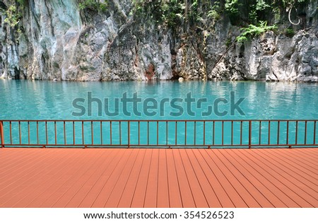 Summer view with empty terrace overlooking the sea - stock photo