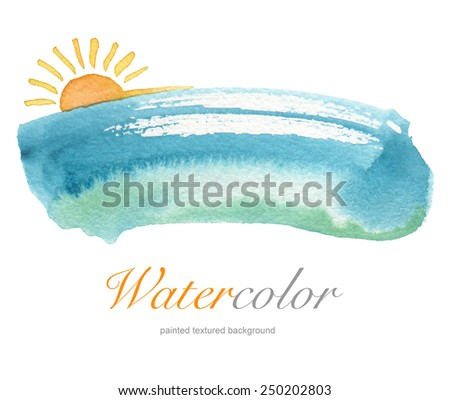 Summer watercolor hand painted background. Textured paper. - stock photo