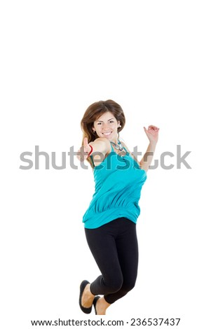 Summer woman or girl jumping  with thumb up of joy excited isolated on white background ,  casual woman jumping happy and free in full body. Beautiful Caucasian model smiling. - stock photo