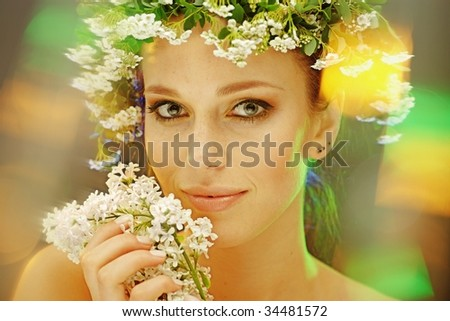 summer woman portrait - stock photo