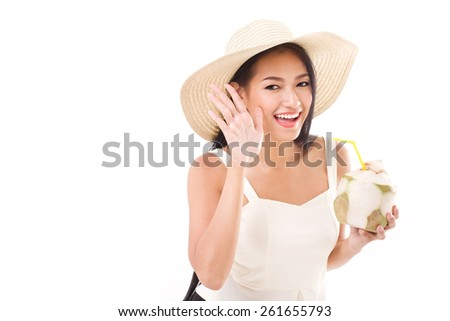 summer woman telling you something - stock photo
