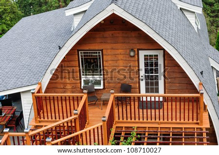 Summer wooden cabin - stock photo