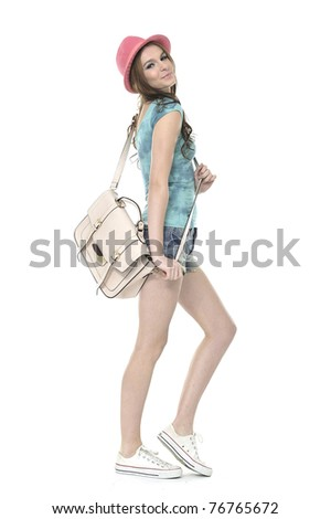 summer young girl cheerful in hat posing - stock photo