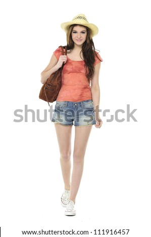 summer young girl cheerful with bag in short jeans full body - stock photo