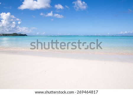 Summertime at the beach. beautiful beach and tropical sea. - stock photo