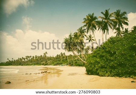 Summertime at Tropical Beach - retro style background - stock photo