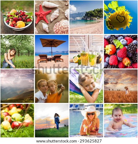Summertime collage - time to rest on nature, eat fruits and swim - stock photo