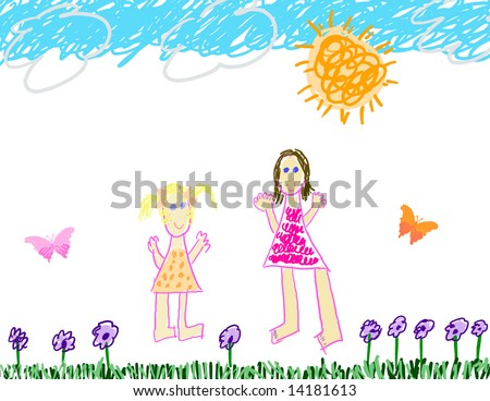 Summertime fun with mom & daughter - stock photo
