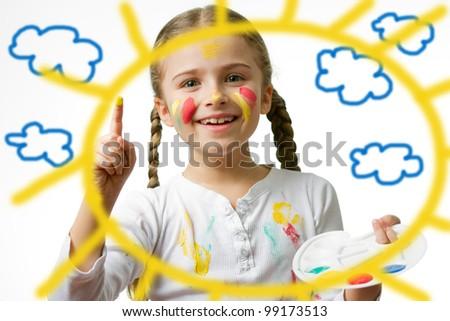 Summertime - lovely girl painting sun - stock photo