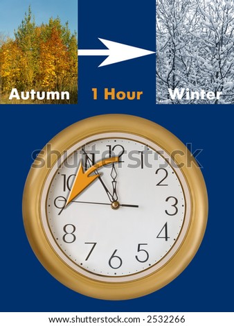 Summertime period ends (last Sunday in October in European Union), Daylight Saving Time - stock photo