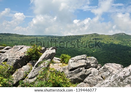 Summertime View from Horse Trail East, Grayson Highlands State Park in Virginia Horizontal  - stock photo