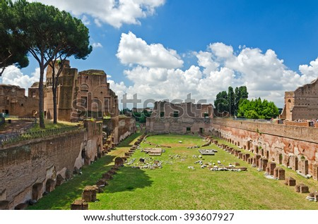 Summertime view into the hippodrome of Domitian on the Palatine in Rome, Italy - stock photo