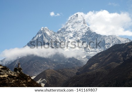 Summit of Ama Dablam mountain (Mother's necklace in tibetan) - it is the third most popular Himalayan peak for permitted expeditions,Nepal, located at the famous trekking route to Everest Base Camp - stock photo