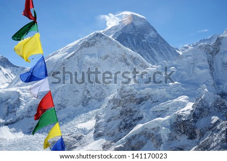 Summit of mount Everest or Chomolungma - highest mountain in the world, view from Kala Patthar,Nepal,Himalayas - stock photo