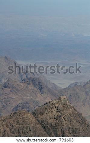 Summit of Mount Sinai aka Jebel Musa (2285 m) on Sinai Peninsula, Egypt. - stock photo