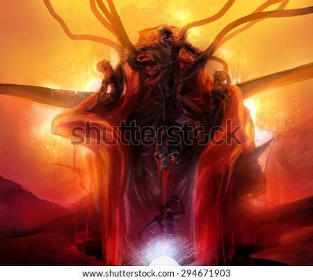 Summoned evil. Hellish horror evil statue monument made of diabolical monsters and creatures with fire & magma background fantasy illustration. - stock photo