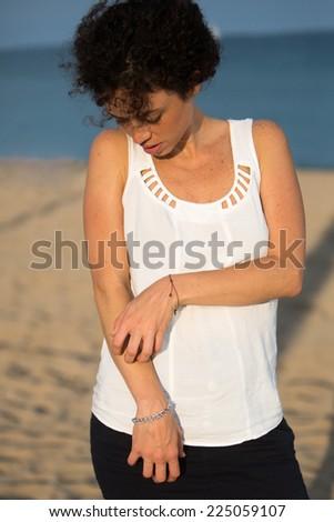 sun allergy - stock photo