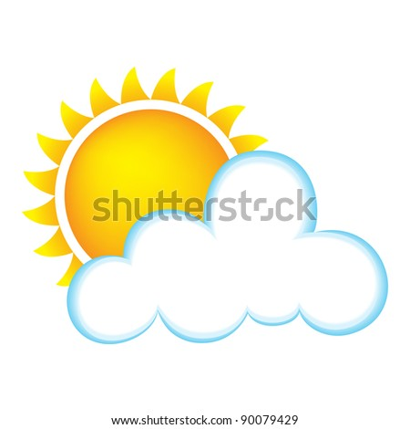 Sun and Cloud - Bitmap Illustration - stock photo