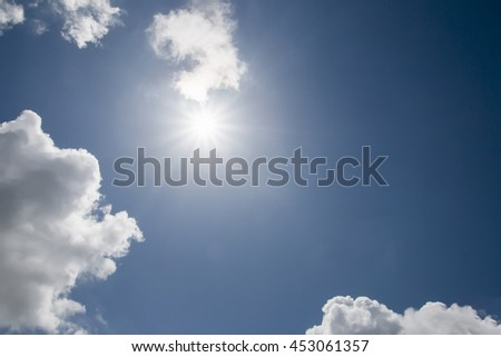 sun and Cloud on blue sky  background - stock photo