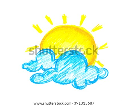 sun and clouds painting - stock photo