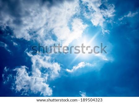 sun and clound,sun rays - stock photo
