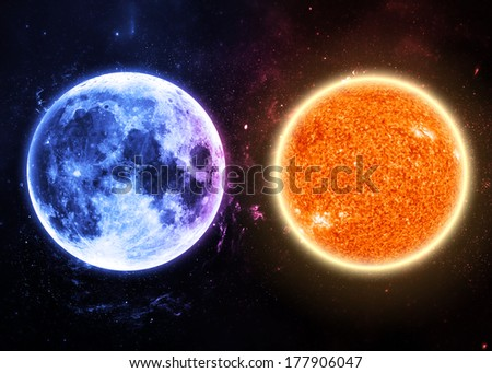 Sun and Moon - Elements of this Image Furnished by NASA - stock photo