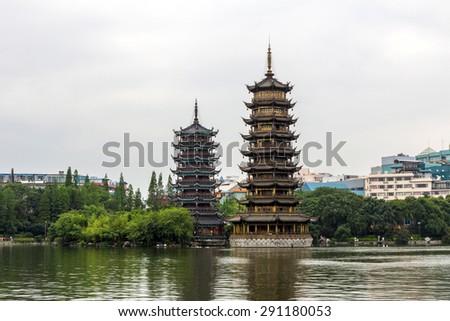 Sun and Moon Twin Pagodas in Guilin, China - stock photo