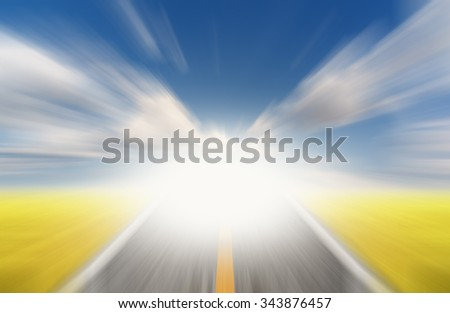 Sun and road with motion blur  - stock photo
