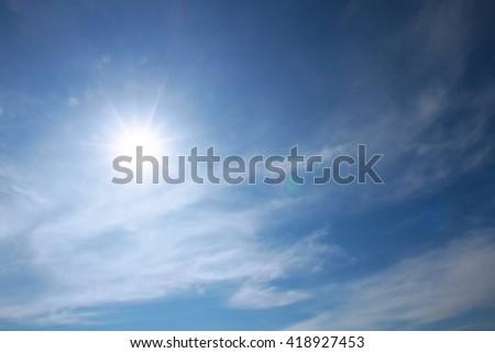 Sun and sky blue summer sunny - stock photo