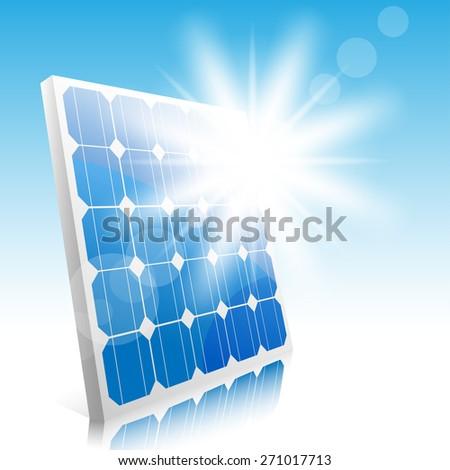 Sun and solar panels. Illustration. - stock photo