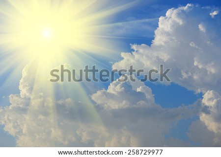 sun beam and sky-clouds background. - stock photo