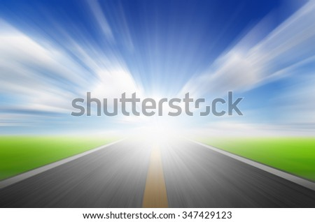 Sun,blue sky and road with motion blur,speed to future concept - stock photo