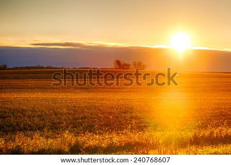 Sun breaking over the clouds showing a great field. - stock photo