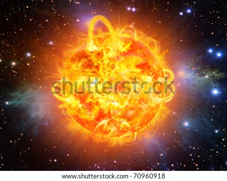 sun burning - surface solar explosion illustration - stock photo