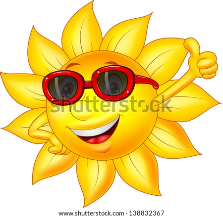 Sun cartoon character with thumb up - stock photo