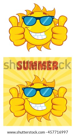 Sun Cartoon Mascot Character 26. Set Raster Collection Isolated On White Background - stock photo