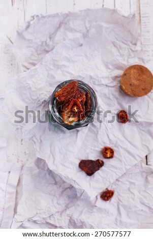 Sun dried tomatoes. Top view - stock photo