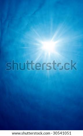 Sun Filtering Down through Ocean, Underwater View - stock photo