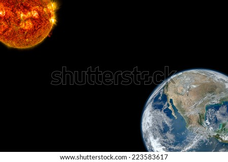 Sun Global Warming. Elements of this image furnished by NASA. - stock photo