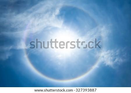 Sun halo phenomenon - stock photo