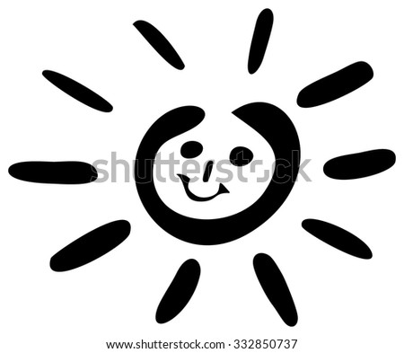 sun illustration, isolated on white - stock photo