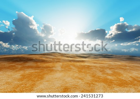 sun in clouds over dry desert - stock photo