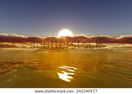 sun in clouds over golden sea with clear sky - stock photo