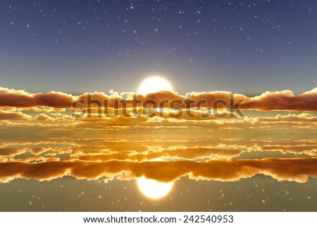 sun in clouds over mirror golden water with stars on sky - stock photo