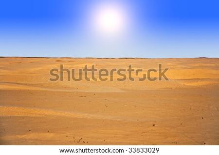 sun in desert - stock photo