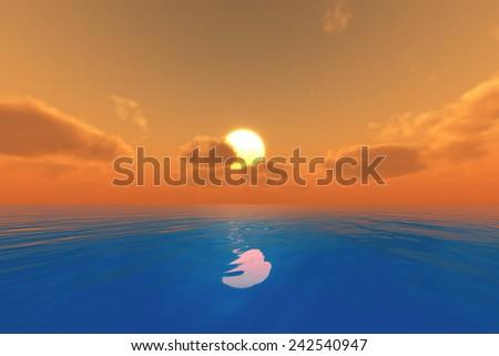 sun in orange clouds over blue sea - stock photo