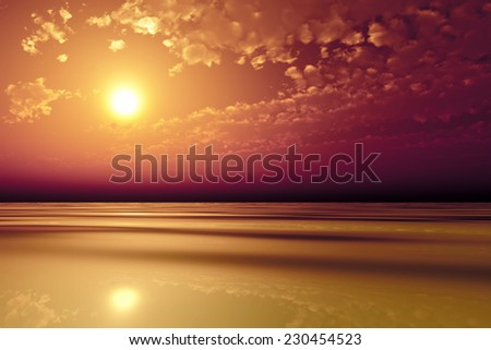 sun in pink clouds over golden sea - stock photo