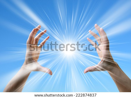 Sun in the hands. Harmony, creativity concept - stock photo