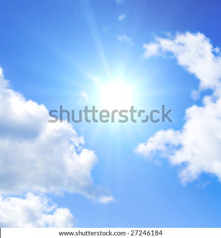 Sun is glowing between clouds - stock photo